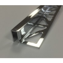 Premium Chrome Plated Brass Box Section Tile Trim 2.5m